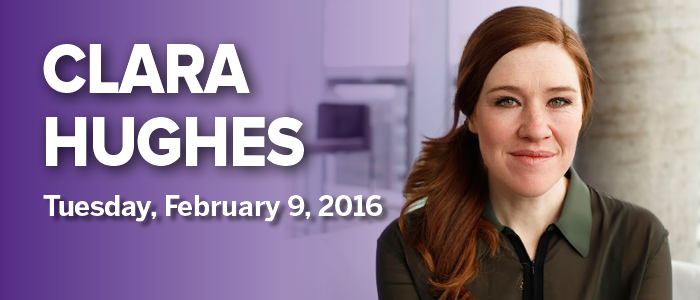Promotional image of Clara Hughes.